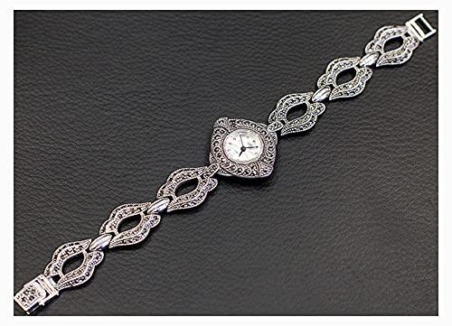 CHXISHOP Relojes de la Pulsera de Las Mujeres Movimiento de Cuarzo Relojes de Piedras Preciosas incrustadas con Incrustaciones 925 Relojes de Negocios avanzados de joyería de Silver-M