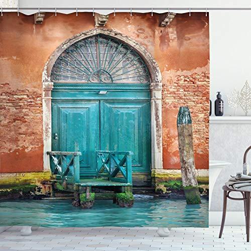 ABAKUHAUS Venetië Douchegordijn, gebouw Deur, stoffen badkamerdecoratieset met haakjes, 175 x 180 cm, Cinnamon Sky Blue