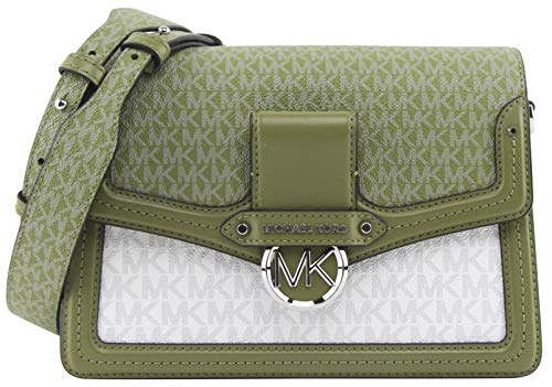 Michael Kors Women's Jessie Medium Two-Tone Logo Shoulder Bag in Oregano...