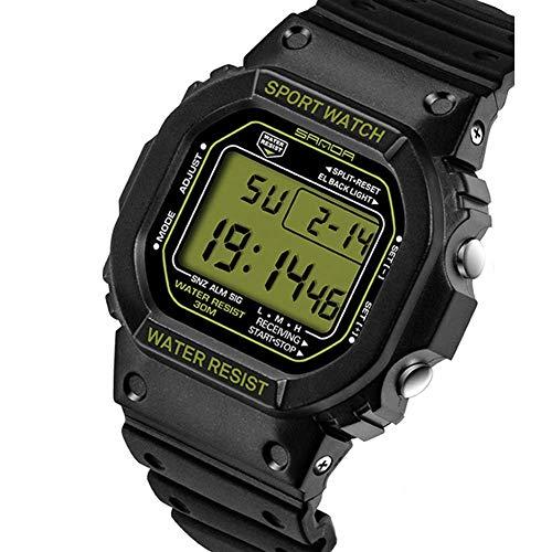 SXXYTCWL Reloj de Pulsera for Hombre Deporte Deportes Reloj Digital de 30M Digital Impermeable Militar Relojes Negro Cara Grande de LED al Aire Libre for los Hombres jianyou (Color : Green)