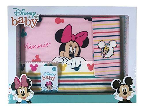 Juego de 3 sábanas para cuna de bebé, 100 % algodón, diseño de Disney Baby, juego de sábanas para cuna de bebé con funda de almohada | Sábanas para cuna de bebé (Minnie lazo rosa)