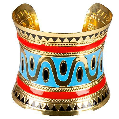 WOOOOZY Armreif Ägypterin, Gold, türkis, rot, Metall