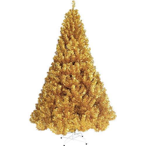 MIMI KING Arbre De Noël d'or Artificiel Éteint Eco-Friendly Sapin De Noël avec Le Support Articulé en Métal pour L'extérieur D'intérieur,6.9Ft