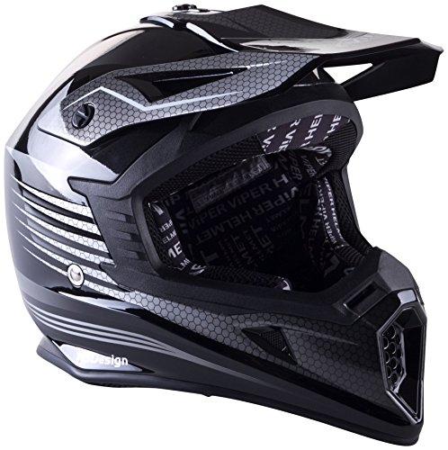 Viper Helmets Motorradhelm Rsx95, Razr Black/Carbon Shiny, 57-58 cm