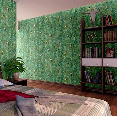 Stile cinese sud-orientale Piuma di pavone cinese Carta da parati Soggiorno Camera da letto Hotel TV Sfondo muro-140cmx110cm