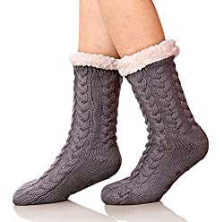cheap SDBING Women's Winter Super Soft Warm Cozy Fuzzy Fleece Lining Gripper Slippers Socks (Dark …