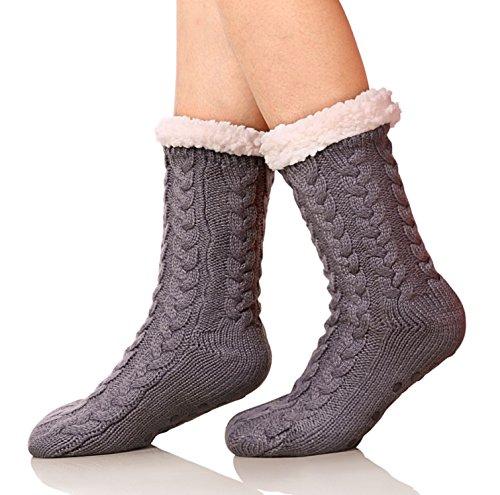 SDBING Women's Winter Super Soft Warm Cozy Fuzzy Fleece-Lined with Grippers Slipper Socks (Dark Gray)