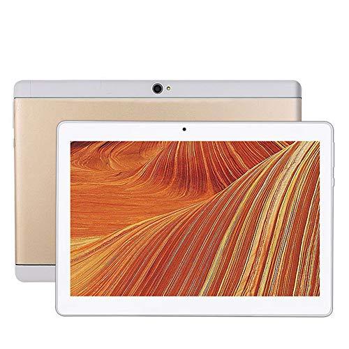 Tableta Android 5.1 De 10.1 Pulgadas, Pantalla IPS HD 1920* 1200 con Modo De Comodidad Ocular, Ranuras para Tarjetas SIM Duales, 8+128GB Cámaras Duales WiFi/Bluetooth/GPS para Niños Adultos … (Gold)