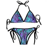 zhkx Bikini Rooster Pattern Chinese Zodiac Symbol Endless Background Repeating HEA Bikini Set Two Piece,Triangle Padded Cut out Swimsuit for Ladies Swimming Costume