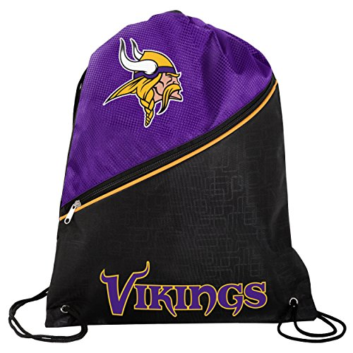 Forever Collectibles Minnesota Vikings High End Diagonal Zipper Drawstring Backpack Gym Bag