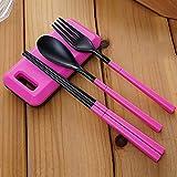 Juego de vajilla plegable 3 en 1, con caja de almacenamiento, para camping, senderismo, viajes, juego de vajilla PingGongHuaKeJiYouXianGongSi (color: rosa)