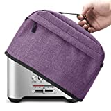 VOSDANS 2 Slice Toaster Cover with Zipper & Open Pockets Kitchen Small Appliance Cover with Handle, Dust and Fingerprint Protection, Machine Washable, Light Purple (Patent Design)