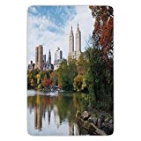 XIAOYI Bathroom Bath Rug Kitchen Floor Mat Carpet,City,Manhattan Central Park Panorama in Autumn Scenic Lake View Colorful Trees Reflection, Flannel Microfiber Non-Slip Soft Absorbent