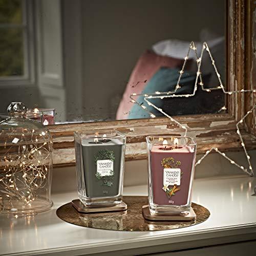 Yankee Candle candela profumata quadrata piccola a 1 stoppino | Cannella e bastoncino di cumino | Durata della fragranza: fino a 28 ore | Elevation Collection con coperchio utilizzabile come base