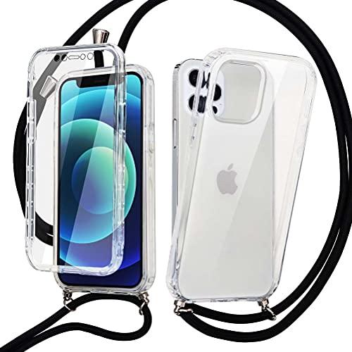 Yoedge 360 Grados Funda con Cuerda para Samsung Galaxy A50 / A30S / A50s 6,4 Pulgada con Protectores de Pantalla Incorporados, Silicona Transparente Ajustable Cordón para Samsung A50s, Transparente