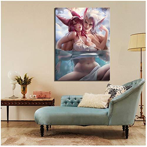 Leinwand Gemälde Drucke Dekoration 1 Panel League of Legends LOL Xayah Und Rakan Spiel Wand Kunstwerk Modulare Bilder Poster 30x50 cm/11.8