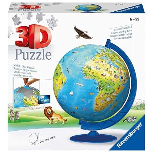 Ravensburger 12340 Globo 3D Puzzle, 180 Pezzi, Multicolore, Età Raccomandata 7-12 Anni, Dimensioni 26.7 x 23 cm