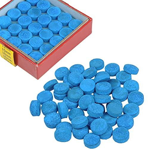 OFNMY 50pcs puntas de taco de billar de 10mm de repuesto para tacos de billar y Snooker-Blue