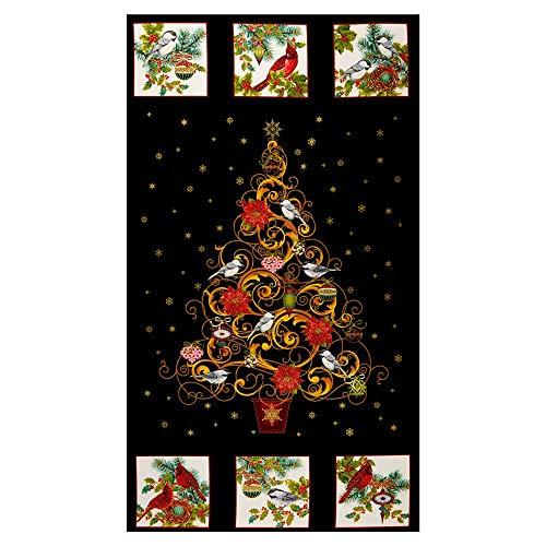 Christmas Joy Tree 24'' Panel Black With Metallic Quilt Fabric