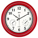 Large Outdoor Clock, Waterproof Wall Clock with Thermometer and Hygrometer Combo, Weather Resistant, Silent Metal Pool Clock for Garden, Patio, Fence, Porch (18-Inch, Empire Red)