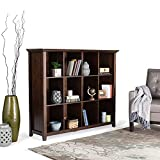 SIMPLIHOME Acadian SOLID WOOD 48 inch x 57 inch Rustic 12 Cube Storage in Brunette Brown with 12 Shelves, for the Living Room, Study and Office