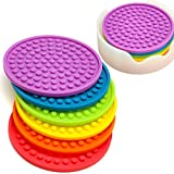 ENKORE Coasters Novelty Set In 6 Rainbow Colors With Translucent Holder - Kids Favorite, Weathe…