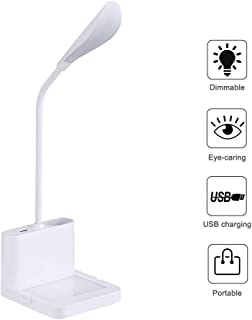 LED Desk Lamp,Eye-Caring Dimmable LEDTable Lamps,360° Adjustable Metal Hose,Touch Control Bedside Lamps3 Color Temperatures,Scratch Board,Phone Hanger,Color ChangingLighting for Bedroom and Office