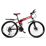 Velocidad De Choque Bicicleta De Montaña Para Adultos Niños,Acero De Alto Carbono Freno De Disco Bicicleta Plegable,Bicicletas Mtb De Suspensión Bicicletas De Carretera Bicicleta A 21speed 26inch
