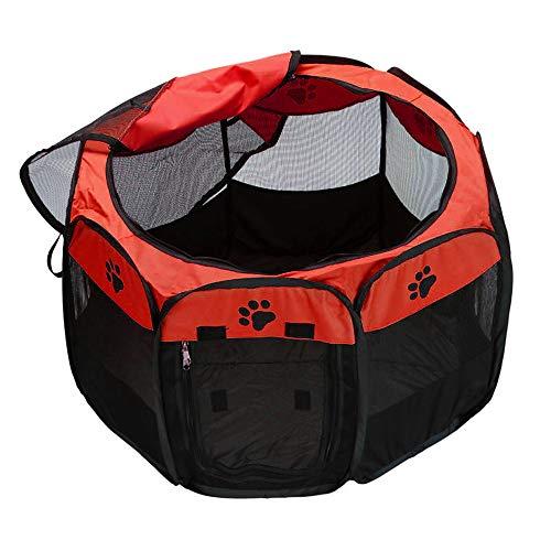 Decdeal Box per Animali da Compagnia Portatile, Recinti Gioco per Cani Impermeabile Pieghevole Tessuto Oxford, Tenda da Casa o Giochi per Cani e Gatti, Facile da Montare (Rosso)
