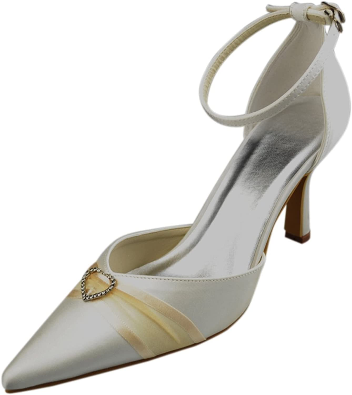 Minishion Womens Pointed Toe Satin Evening Party Bridal Wedding Heart Shape Strappy Pumps