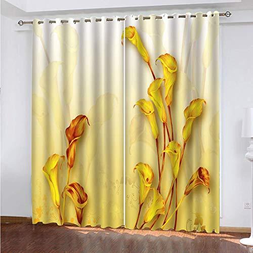 WLHRJ Verdunkelungsvorhänge für Schlafzimmer Wohnzimmer Kinder Küche Fenster 3D Digitaldruck Vorhänge Öse – 160 x 160 cm – Europäische goldene Blumen