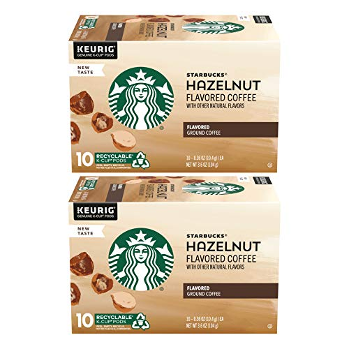 Starbucks Flavored Coffee K-Cup Pods, Hazelnut, 10 Count (Pack of 2)