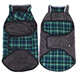 WEONE Dog Winter Coat Plaid Fleece Warm Christmas Clothes, Reflective Reversible Cold Weather