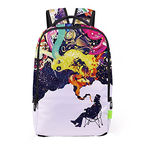 Han Shi School Bag, Women Men 3D Galaxy Travel Satchel Stylish Unisex Canvas Book Bag Shoulder School Bag (Multicolour, A)