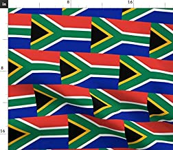 Spoonflower Fabric - South Africa Flag Small Patriotic Printed on Modern Jersey Fabric by The Yard - Fashion Apparel Clothing with 4-Way Stretch