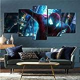 mmkow Cuadro impreso en lienzo 5 piezas Set cómic Spiderman vida artista decoración del hogar 50x100cm (enmarcado)
