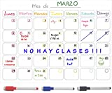 Calendario magnético para nevera. Planificador mensual para actividades, compras, dieta, cumpleaños. Pizarra Magnética A3 (40 x30 cm).