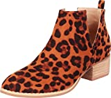 Cambridge Select Women's Western Pointed Toe Side V Cutout Chunky Block Low Heel Ankle Bootie,8 B(M) US,Camel Leopard IMSU