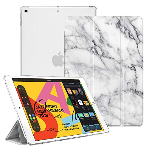 FINTIE Case for iPad 7th Generation 10.2 Inch 2019 - Lightweight Slim Shell Stand with Translucent Frosted Back Cover, Auto Wake/Sleep, Marble White