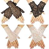 Bolonbi - 4 paia di guanti da donna in pizzo, senza dita, con motivo floreale, in pizzo...