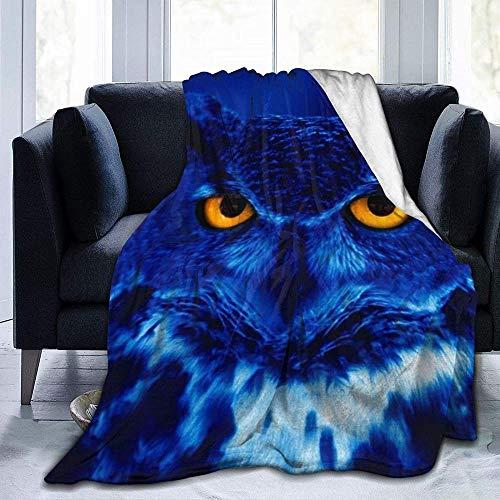 DWgatan Couverture,Jeté de lit Super Chaud en Polaire Easy Care,100% Polyester léger canapé Confort Enfants, Chambre à Coucher,Blue Owl Printed Blanket for Bedroom Living Room Couch Bed Sofa -50\