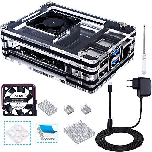 Bruphny Caja para Raspberry Pi 4 con Cargador de 5V / 3A USB-C, 4 X Disipador, 35mm Ventilador, Compatible con Raspberry Pi 4 Modelo B (No Incluye la Placa Raspberry Pi)-Negro y Claro