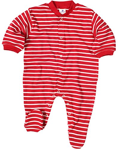 Living Crafts Grenouillère bébé, coton bio, coloris blanc/rayé rouge, taille au choix