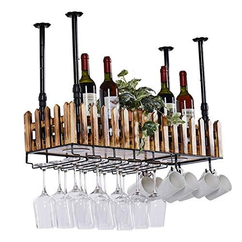ZYLZL Estante para Vinos, Bar, Restaurante, Estante para Copas de Vino, Soporte Rojo para el Hogar con Soporte para Vasos, Soporte para Alenamiento de Botellas de Madera Colgante de Metal Industrial,