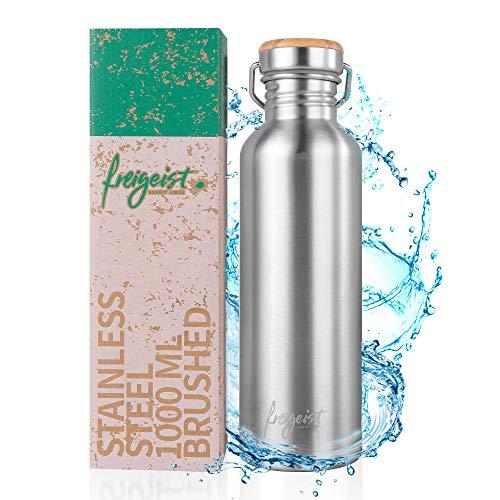 freigeist Edelstahl Trinkflasche 1l | große einwandige Wasserflasche 1000ml | Edelstahlflasche | spülmaschinenfest, BPA frei, dicht und auslaufsicher kohlensäuregeeignet und robust