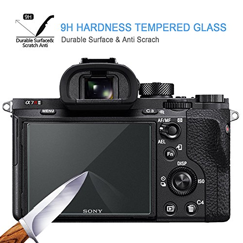 Screen Protector for Sony Alpha A7II A7RIII A7SII A7R Mark II Camera, Masstimo 3 Pack Tempered Glass LCD Protective Screen Guard for A72 A7R2 A7S2 A7R Mark 2