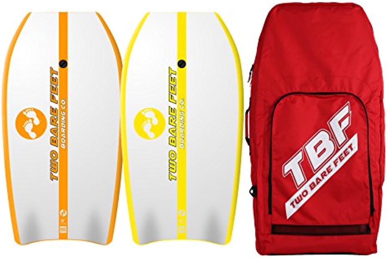 Two Bare Feet 104,1cm Bodyboard Bundle–2x 41Bodyboards Ihrer Wahl + Premium Double Tragetasche (rot) (104,1cm Antenne (Orange), 104,1cm Antenne (gelb))