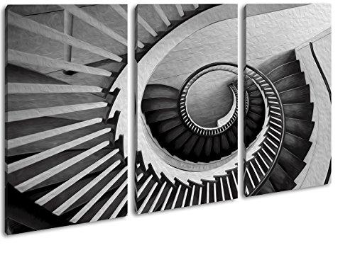 deyoli gekrümmte Wendeltreppe Effekt: Zeichnung Format: 3-teilig 120x80 als Leinwandbild, Motiv fertig gerahmt auf Echtholzrahmen, Hochwertiger Digitaldruck mit Rahmen, Kein Poster oder Plakat