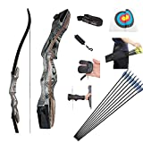 OEELINE Airobow Recurve Bow and Arrow Set, Takedown Archery Bow 62 inch Hunting Bow Right Hand Draw Weights in 25-55 lbs