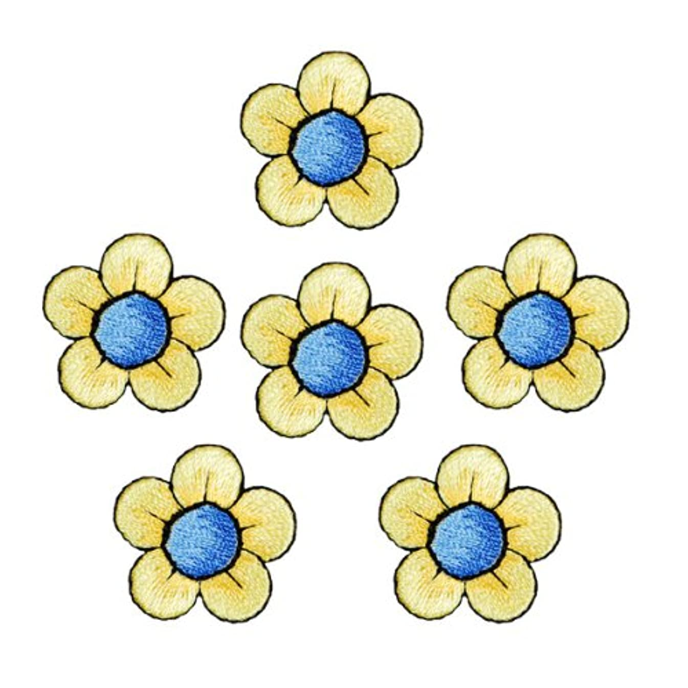 Expo Iron-on Embroidered Applique Patches, BaZooples Flower, 6-Pack